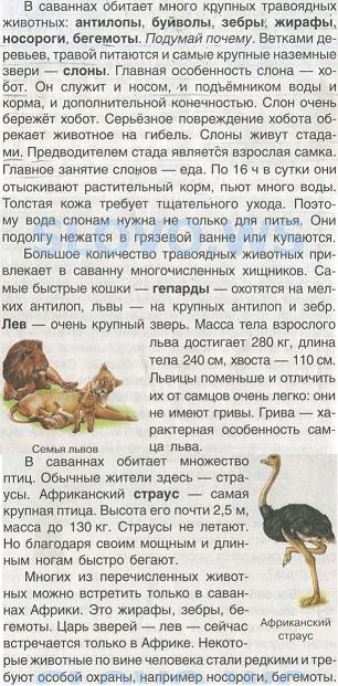 Животный мир саванн. Учебник