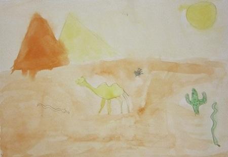 урок изо верблюд в пустыне