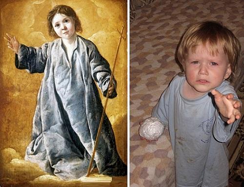 """Живые картины: """"Младенец Христос"""" Франсиско де Сурбанара и дочка Ульяна"""