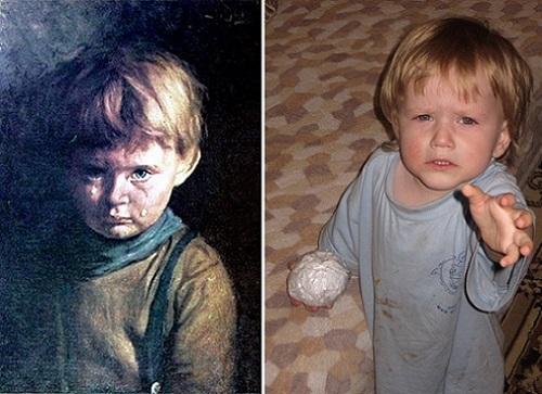 """Живые картины: """"Плачущий мальчик"""" Джованни Браголина и моя малышка Ульянушка"""