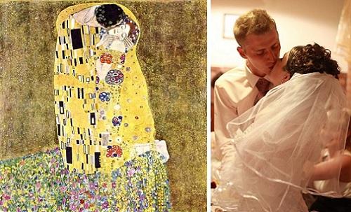 """Живые картины: Густав Климт """"Поцелуй"""" и поцелуй на нашей свадьбе: Максим и Татьяна"""