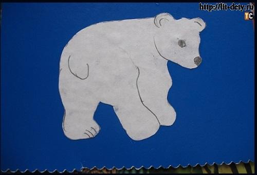 Умка белый медвежонок (открытка из ваты)