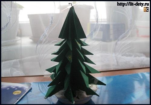 Устойчивая елочка. Оригами