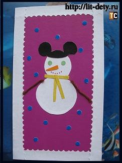 аппликация снеговик на открытку